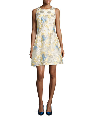Belle By Badgley Mischka Foil Jacquard Fit-and-Flare Dress-IVORY/GOLD-12