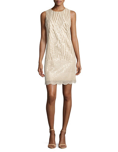 Belle By Badgley Mischka Sequin Embellished Sheath Dress-GOLD-4