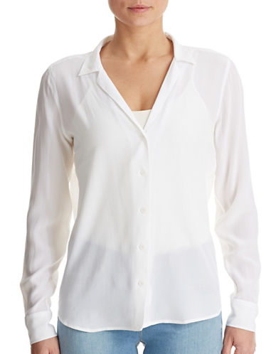 Equipment Adalyn Notch Collar Silk Crepe Blouse-WHITE-Medium