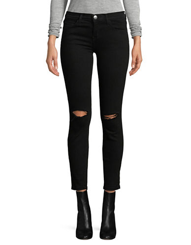 Current Elliott Distressed Jet Black Jeans-BLACK-26