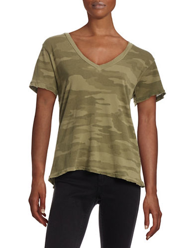 Current Elliott V-Neck Camo T-Shirt-GREEN-2