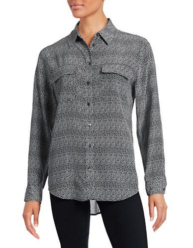 Equipment Signature Floral Silk Blouse-BLACK-Small plus size,  plus size fashion plus size appare