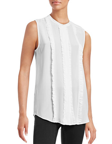 Equipment Colbie Ruffle-Front Silk Blouse-WHITE-Small