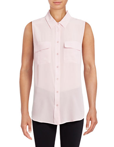 Equipment Silk Sleeveless Top-PINK-Medium 88951892_PINK_Medium