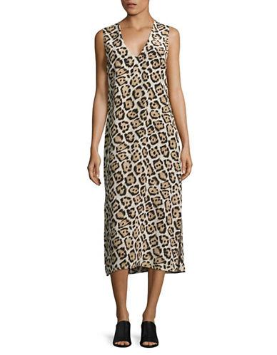 Equipment Connery Leopard-Print Silk Midi Dress-BROWN MULTI-Large