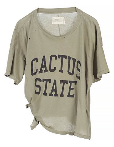 Current Elliott Cactus State Tie-Hem Distressed Tee-GREEN-X-Small 89121741_GREEN_X-Small