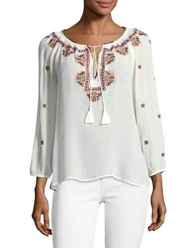 Joie Guilene Silk Bohemian Blouse-NATURAL-Medium