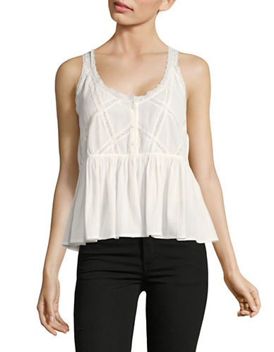 Current Elliott Sleeveless Peplum The Lace Top-WHITE-Large