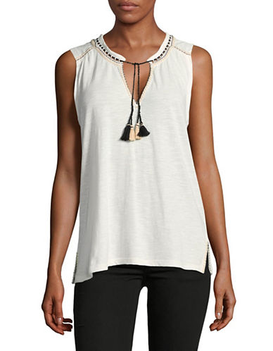 Soft Joie Embroidered Tassel Top-WHITE-Small