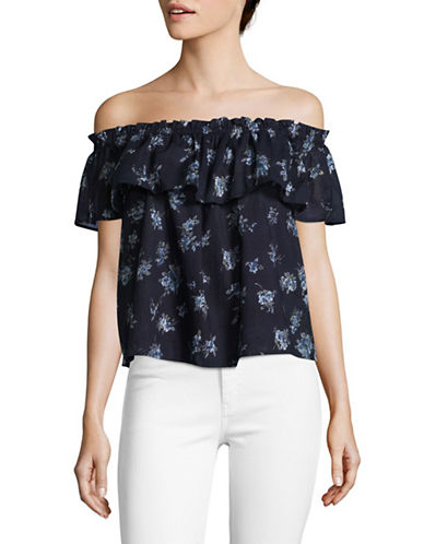 Current Elliott Ruffled Off-The-Shoulder Top-BLUE-Large