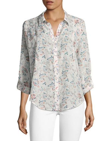 Joie Katrine Silk-Cotton Floral Blouse-BLUE MULTI-Large