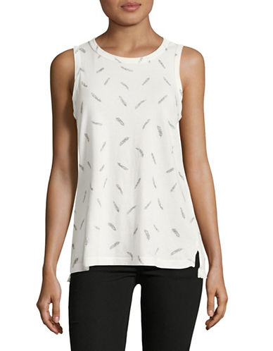 Current Elliott Feather Print Tee-WHITE-Medium