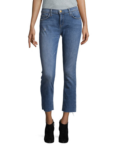 Current Elliott The Cropped Straight Jeans-BLUE-26