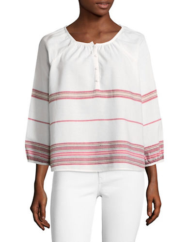 Soft Joie Yarissa Stripe Cotton Blouse-WHITE-X-Small