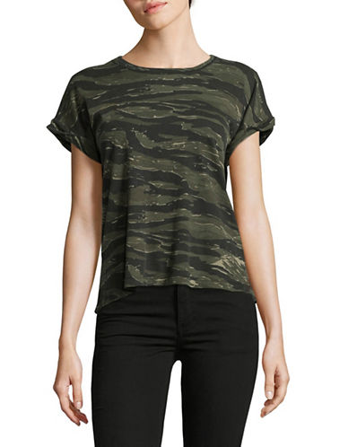 Current Elliott Camo Rolled Cuff Tee-GREEN-Large