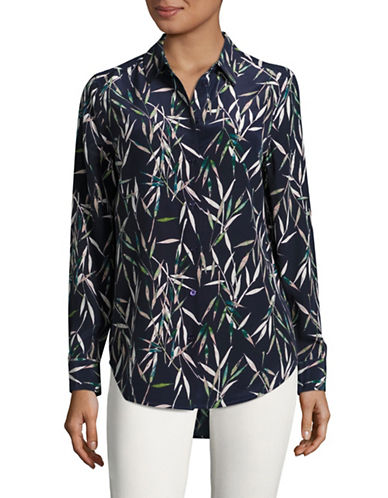 Equipment Essential Leaf Print Silk Blouse-BLUE MULTI-Small