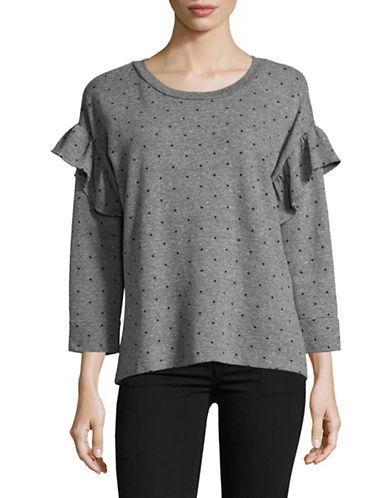 Current Elliott The Ruffle Sweatshirt-GREY-Medium