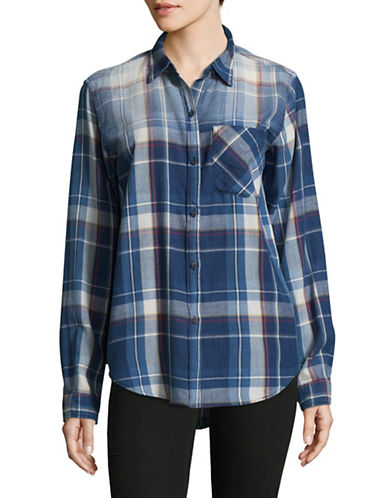 Current Elliott Plaid Cotton Button-Down Shirt-BLUE-3