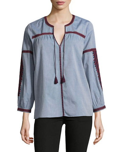 Joie Embroidered Peasant Top-BLUE-Medium
