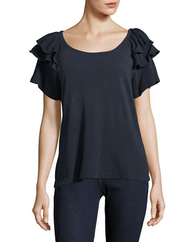 Current Elliott Double Ruffle T-Shirt-BLUE-Medium