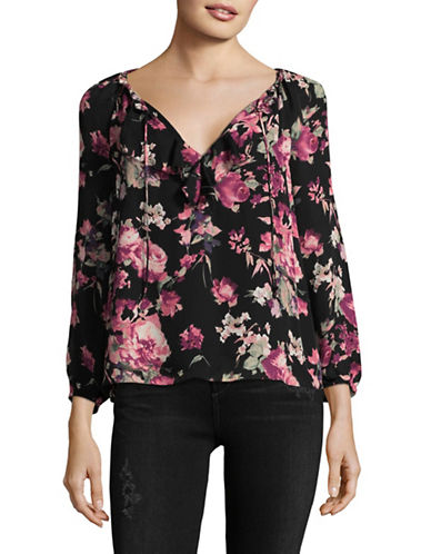 Joie Nadege Floral Silk Blouse-BLACK MULTI-Large