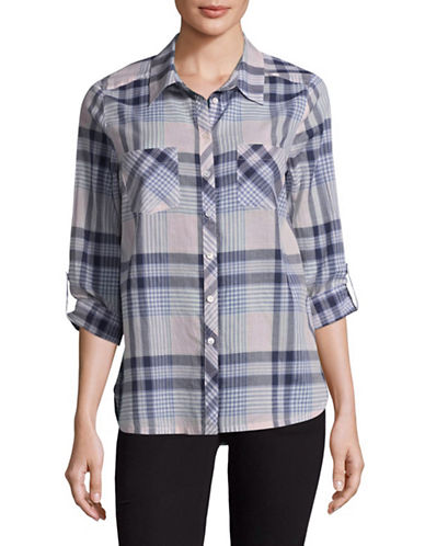 Soft Joie Lilya Plaid Boyfriend Shirt-JASMINE-Small