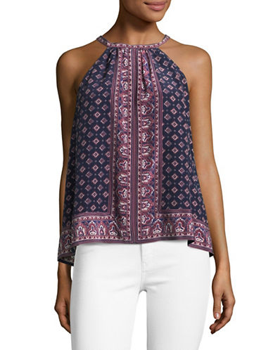 Joie Bradie Mixed Print Silk Top-NAVY MULTI-Small