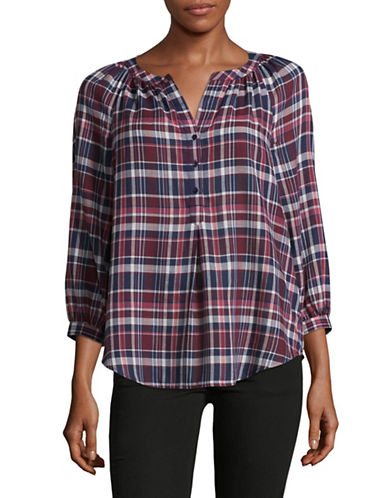 Joie Selima Plaid Peasant Blouse-NAVY MULTI-Small
