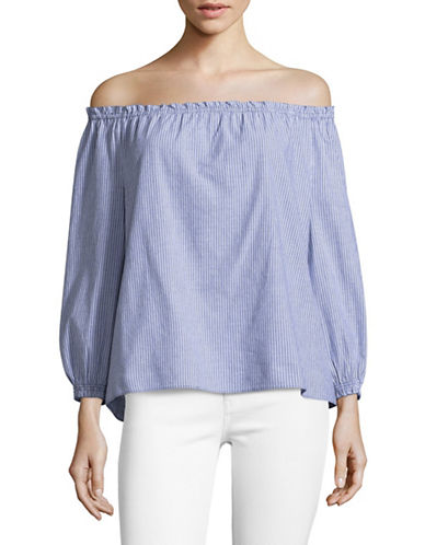 Joie Bamboo Striped Off-the-Shoulder Top-BLUE-Large