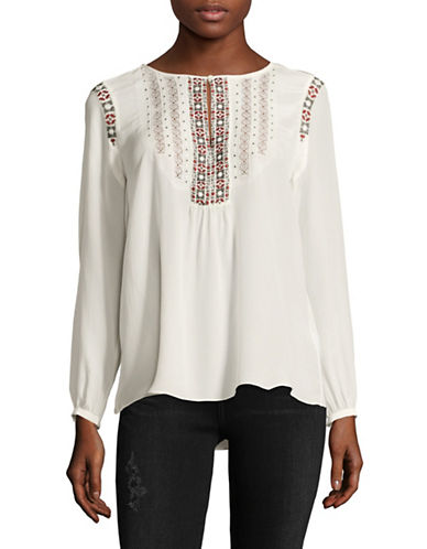 Joie Clema Silk Peasant Blouse-PORCELAIN-Medium
