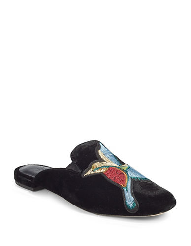 Joie Jean Embroidered Velvet Slide Loafers-BLACK-EUR 40/US 10