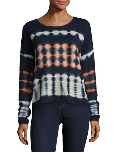 Soft Joie Tie Dye Crew Neck Sweater-INDIGO MULTI-X-Small