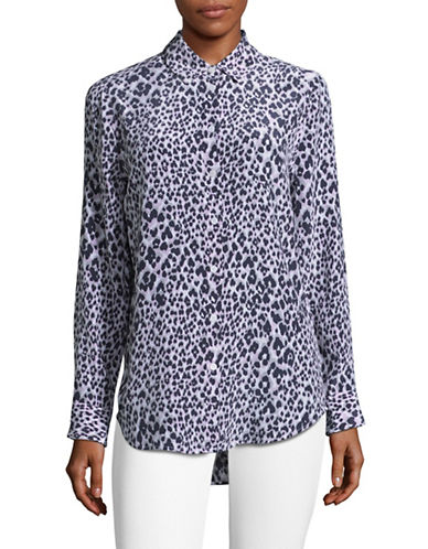 Equipment Snow Leopard Silk Blouse-WHITE MULTI-X-Small