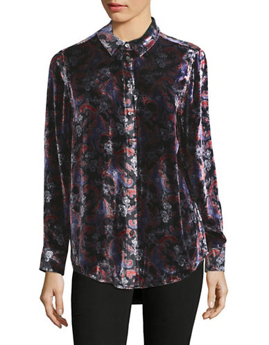 Equipment Essential Velvet Printed Blouse-BLACK MULTI-Large