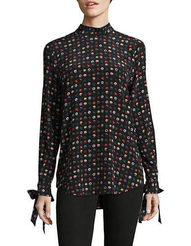 Equipment Floral Self-Tie Shirt-BLACK MULTI-X-Small