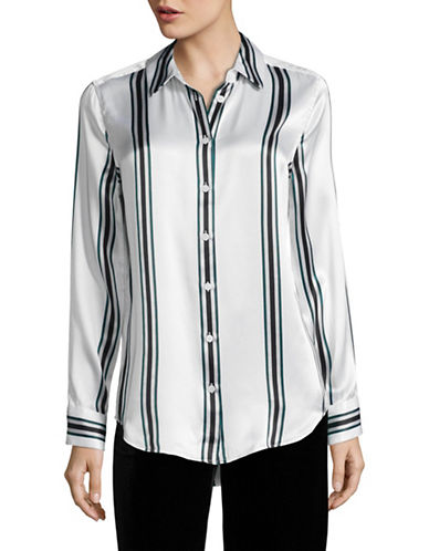 Equipment Essential Striped Silk Blouse-WHITE MULTI-Large