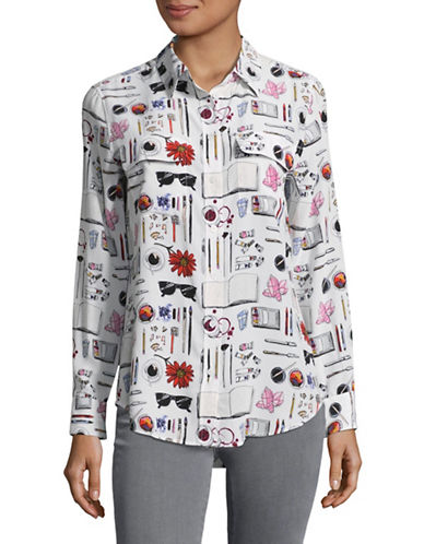 Equipment Signature Charm Print Silk Blouse-WHITE MULTI-Medium