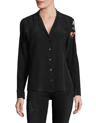 Equipment Adalyn Embroidered Silk Cardigan-BLACK-Large