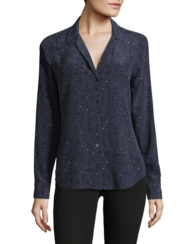 Equipment Adalyn Blue Printed Silk Blouse-BLUE-Medium