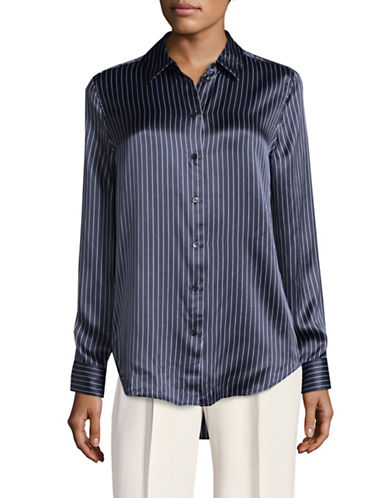Equipment Essential Striped Silk Blouse-BLUE-Large