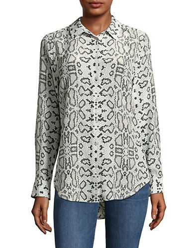 Equipment Essential Python Print Silk Blouse-GREY MULTI-Medium