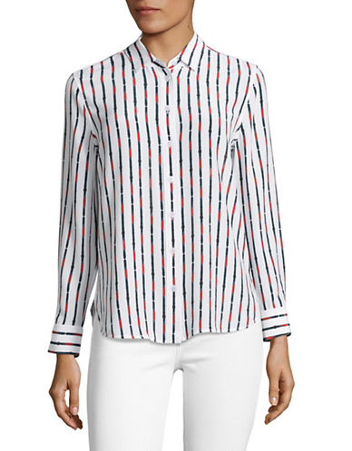 Equipment Leema Striped Silk Blouse-WHITE MULTI-Large