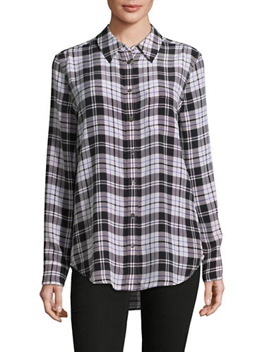 Equipment Silk Plaid Blouse-MULTI-Large