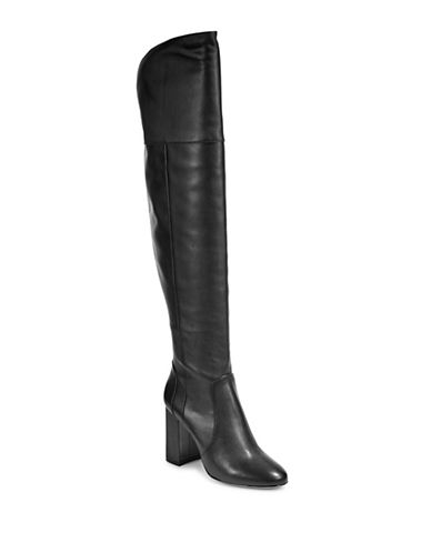 Joie Womens Leather Thigh-High Boots-BLACK-EUR 37.5/US 7.5