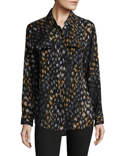 Equipment Silk Leopard Print Blouse-BLACK MULTI-X-Small