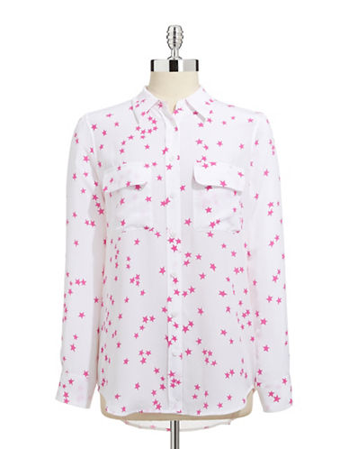 Equipment Starry Night Slim Signature Blouse-WHITE-X-Small