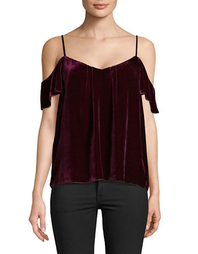 Joie Adorlee Velvet Cold-Shoulder Blouse-WINE-Large