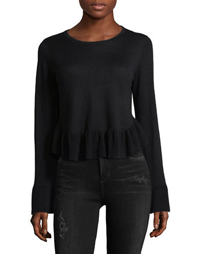 Joie Iona Ruffled Wool-Blend Sweater-CAVIAR-X-Small