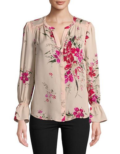 Joie Keno Floral Silk Button-Down Blouse-PINK-Small