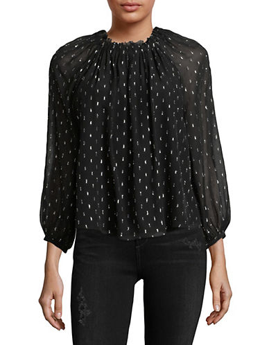 Joie Baylee Fleck Sheer Silk Blouse-CAVIAR-Small
